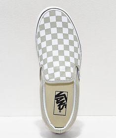 d5ccf257d4a Vans Slip-On Desert Sage   True White Checkerboard Skate Shoes
