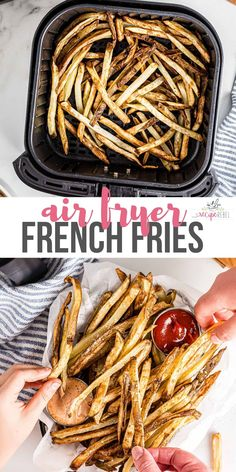 Air Fryer French Fries are crispy on the outside and tender on the inside! A family favorite made with hardly any oil! #airfryer #frenchfries #recipes #dinner | air fryer recipes | air fryer potatoes | how to make french fries | side dish recipes