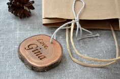 Personalized Wood Slice Gift Tag for Valentines Day Wedding Favor or Birthday Party Holiday Oak Gift Tag Rustic Wedding Gift Tag Engraved Rustic Wedding Gifts, Wedding Gift Tags, Wedding Ideas, Ski, 5th Wedding Anniversary Gift, Beeswax Polish, Ring Holder Wedding, Rustic Candles, Valentines Day Weddings