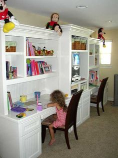 I would love that study for my kids in the new house.. JUST NOT WHITE!! I'd do a much darker color..