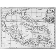 Trademark Art 'Map of the West Indies, Florida & South America' Canvas Art, Size: 30 x 47, Multicolor