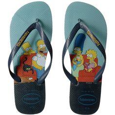 Havaianas Simpsons Flip-Flops (Blue) Men's Sandals ($26) ❤ liked on Polyvore featuring men's fashion, men's shoes, men's sandals, men's flip flops, mens sandals, mens rubber shoes, mens rubber flip flops, mens blue shoes and mens flip flops
