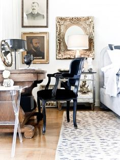 Elegant bedroom workspace with classic charm [Design: Jamie Laubhan-Oliver] Bedroom Workspace, Mirrored Furniture, Bedroom Design, Luxurious Bedrooms, Victorian Bedroom, Furniture, Bedroom Decor, Home Office Bedroom, Eclectic Bedroom