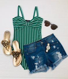 Striped Bow Bodysuit: Green - privityboutique #stripes #bodysuit #summervibes Cute Beach Outfits, Summer Shorts Outfits, Mom Outfits, Girly Outfits, Fashion Outfits, Pretty Quinceanera Dresses, Swimming Outfit, Disney Inspired Outfits, Fashion Pictures