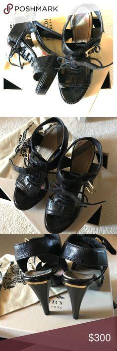 Authentic Bridle Hosecheck 120MM Platform Sandle Platform Sandle; Color: Black; Size: Eur 37.5 Burberry Shoes Platforms