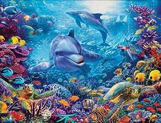 2019 New Special Dolphin Diy Cross Stitch Diamond Painting Kits Ravensburger Puzzle, Tier Puzzle, Puzzle 1000, Cross Stitch Art, Diamond Art, 5d Diamond Painting, Colorful Fish, Underwater World, Amazon Art