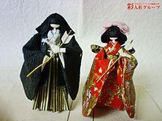 太郎・花子 彩人形-手のひらサイズの和紙人形-