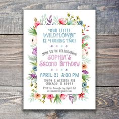 Items similar to Our Little Wildflower Birthday Invitation / Our Wildflower Birthday Party Invite DIY Printable on Etsy - Shopkins Party Ideas Second Birthday Ideas, Girl 2nd Birthday, Kids Birthday Themes, First Birthday Parties, Birthday Diy, Diy Birthday Invitations, Invite, Invitation Ideas, Etsy