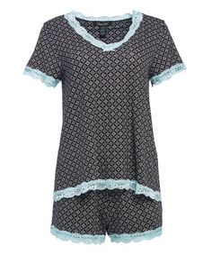 Another great find on #zulily! Black & Mint Arabesque Pajama Shorts Set - Women #zulilyfinds
