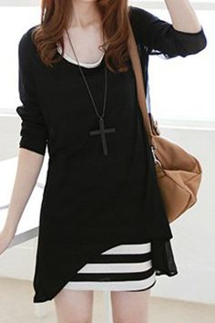 Casual Scoop Neck Solid Color Chiffon Blouse and Striped Sundress Women's Suits