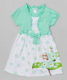 Love this Mint Flower Bow Dress & Shrug - Toddler & Girls by Littoe Potatoes on #zulily! #zulilyfinds