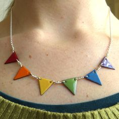 Rainbow Bunting Necklace, Enamelled Copper and Sterling Silver