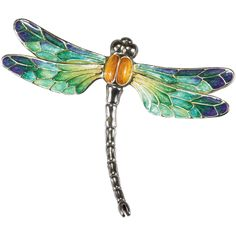 Gorgeous Enamel Dragonfly Sterling Brooch ~ This amazing brooch has the most incredible hand painted enamel! The colors are fantastic with a mix of Dragonfly Illustration, Dragonfly Drawing, Dragonfly Images, Dragonfly Wall Art, Dragonfly Jewelry, Dragonfly Tattoo, Arte Popular, Metallic Colors, Whimsical Art