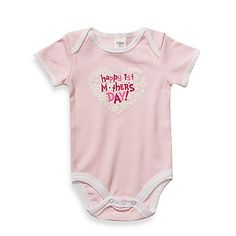"""This pretty-in-pink bodysuit is the perfect outfit for any little girl celebrating with her mom for the first time. Features a colorful screen printed """"Happy 1st Mother's Day"""" graphic inside of a white flower shaped heart."""