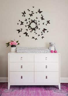 West Elm Baby Changing Table Black Butterfly Art Over Dresser Changing Table - Modern Butterfly Baby Room, Butterfly Wall Decor, Butterfly Art, Butterflies, Baby Nursery Furniture, Baby Nursery Decor, Girl Nursery, Nursery Ideas, Project Nursery