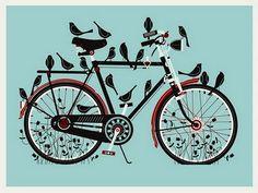 bike & birds illustration