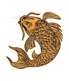 Etching engraving handmade style illustration of a koi carp nishikigoi fish jumping viewed from side set on isolated background.Ed