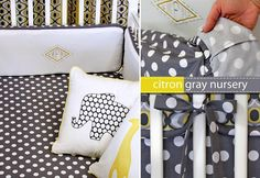 Crib sheet tutorial - so easy!  I like this grey and yellow a lot! Yellow has always been my favorite color, for soooo many years and grey has been a definite color of mine for a while now, too! It seems like everyone is starting to like grey and yellow now too because before hardly ever saw those two colors around.