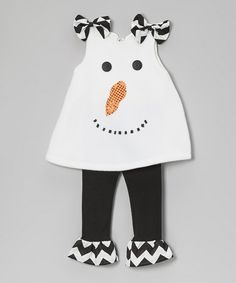 Take a look at this White Snowman Bow Tunic & Ruffle Leggings - Toddler & Girls by Heavenly Things for Angels on Earth on today! Little Boy Fashion, Baby Girl Fashion, Toddler Fashion, Kids Fashion, Fashion Dolls, Baby Dress Clothes, Kids Clothing Brands, Clothing Patterns, Dress Patterns