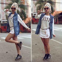 Capricho Shoes Sneaker, Index Vest, Sly Blouse, Miu Miu Sunglasses, Innocenti Skirt Jeans White