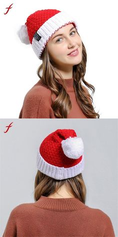 7a20acabdf2 Hats   Caps · Famous brand women baggy warm crochet winter girls knitted  wool skullies casual hat with pompom christmas