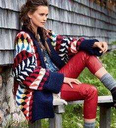 Многоцветный кардиган - схема вязания спицами. Вяжем Кардиганы на Verena.ru