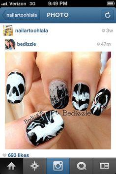 More batman nails :) Batman Nail Art, Hair And Nails, My Nails, Nail Time, Winter Nails, Bats, Cute Nails, Fingers, Class Ring