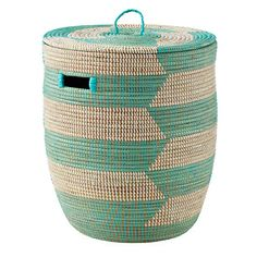 The Land of Nod | Charming Hamper (Herringbone/Aqua) in Floor Storage. ABSOLUTE NECESSITY: A laundry hamper SUPER CLOSE to your changing table. $89