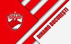 Download wallpapers FC Dinamo Bucuresti, 4k, logo, material design, Romanian football club, red white abstraction, Liga 1, Bucharest, Romania, football