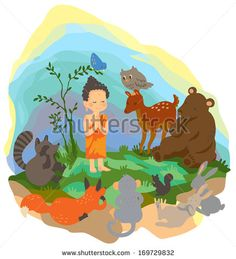 A little Buddhism buddha is preaching truth to wild animals in the wilderness wood scene with kindness and peace in isolated background, create by cartoon vector