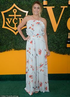 Fancy: Lauren Conrad was positively blooming in her floral look for the Veuve Clicquot Polo Classic on Saturday