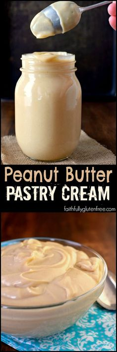 This gluten free Peanut Butter Pastry Cream is perfect in Eclairs, cream puffs, between cake layers, or just with a spoon.