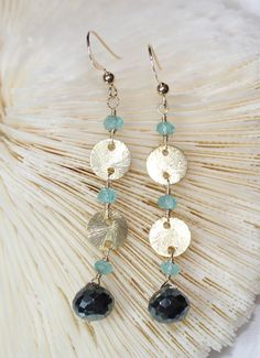 Mystic Black Spinel Onion and Apatite Gold Disc Earrings