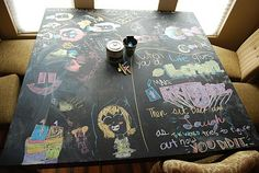 Chalkboard paint on the dining room table. I've already got 2 thumbs up from the kids.