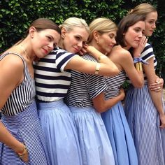 stripes / stripes / stripes Blue And White Outfits, Ball Skirt, Prom Dresses, Formal Dresses, Maid Of Honor, Stripes, Skirts, How To Wear, Clothes