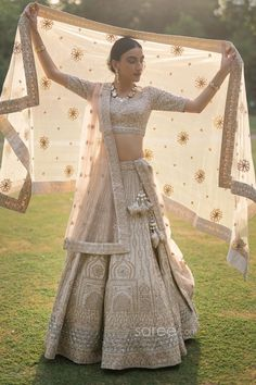 Buy Cream Raw Silk Lehenga Choli with Double Dupatta @ the best price from saree.com by asopalav Raw Silk Lehenga, Bridal Lehenga Choli, Saree, Designer Gowns, Embroidered Blouse, Indian Bridal, Skirt Set, Cream, Fashion