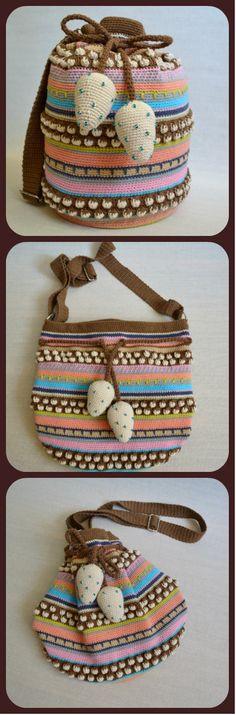 Mochila Wayuu Bag With Crochet Strawberries - Large Crochet Crossbody Bag - Summer Festival Purse For Women - Multicolor Boho Shoulder Bag #ItWasYarn
