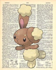 Buneary Pokemon Dictionary Art Print by MollyMuffinsPrints on Etsy