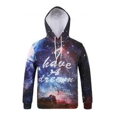 Women's Galaxy Print Drawstring Hooded Sweatshirt (€25) ❤ liked on Polyvore featuring tops, hoodies, white, white top, galaxy hoodies, caged top, galaxy print top and white hoodies