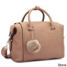 Dasein Faux Satchel Handbag with PomPom