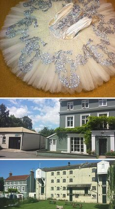 silver glitter embellished classical ballet tutu in ivory satin and net