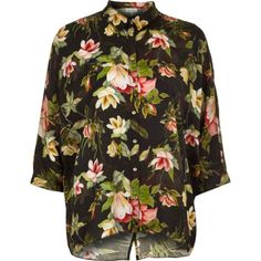 Black tropical floral print shirt