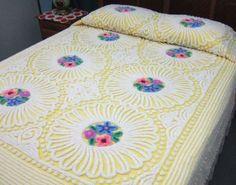 Vintage Yellow Floral Chenille Bedspread Original Paper Tag