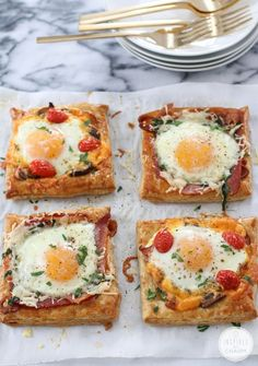 Breakfast Pie | Inspired by Charm- All the breakfast staples are contained in the center of these crisp, flaky, and cheesy pastries. Recipe includes two variations. #1- Bacon and Swiss #2- Ham and Cheddar.