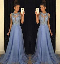 $179.00 Gorgeous A-Line High Neck Lace Prom Dress Beading Evening Gown