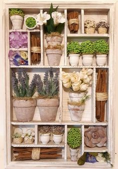 Creative Crafts, Diy Crafts, Shadow Box Art, Little Gardens, Tin Boxes, Vintage Crafts, Box Frames, Decoupage, Cactus