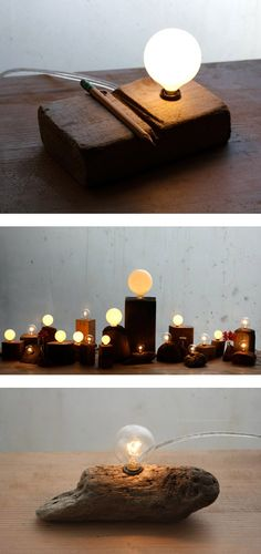 reclaimed wood desk lights