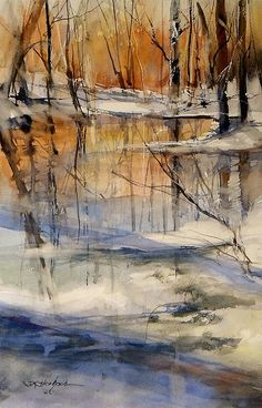 Evening Thaw Painting by Sandra Strohschei #watercolor jd