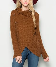Look at this #zulilyfind! Cappuccino Cowl Neck Wrap Sweater by Avenue Hill #zulilyfinds