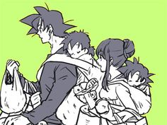 I've always wondered what the Son Family would be like if they'd had their kids closer together. Or more of them. Course, seeing as Gohan was four and still didnt have any siblings makes me think Chi-chi rethought '10 or 12' after finding out babies aren't so easy. :)